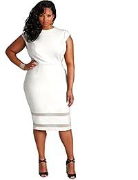 Women Plus Size Design Solid Sleeveless Gauze Splice Mini Dress