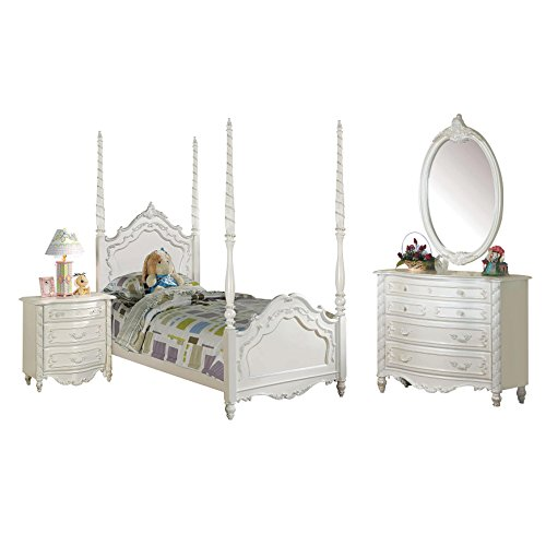 Acme Furniture Pearl 4-Piece Poster Bedroom Set in Pearl White ()