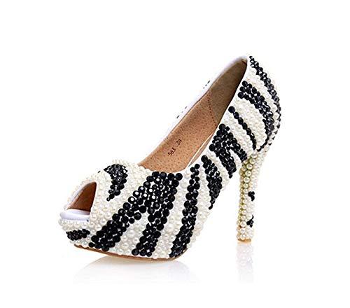 ZHRUI ZHRUI Dimensione Sposa Nero Paillettes Toe Prom Colore Sandali Platform Ladies da UK Perline 2 Peep 5 Bianco rAwarqS