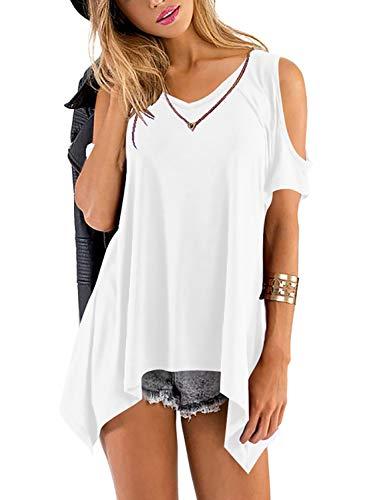 Beluring Womens Cute Short Sleeve V Neck Cold Shoulder Tops Tunic T-Shirt (White, S)