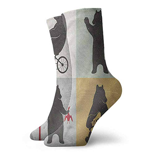 Shiny Socks Short Summer Thin Bear,Funny Frames Drawing Style 3.4