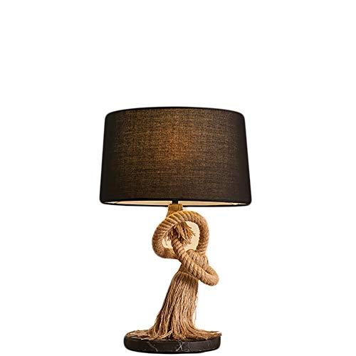 (European Industrial Desk lamp, Retro Warm Atmosphere Personality Creative Fabric Hemp Rope Bedside lamp W14