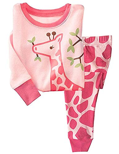Girls Long Sleeve Pajamas, Children 100% Cotton Animal Pjs Set 2 Piece Sleepwear Pink 3-4T by Jomago