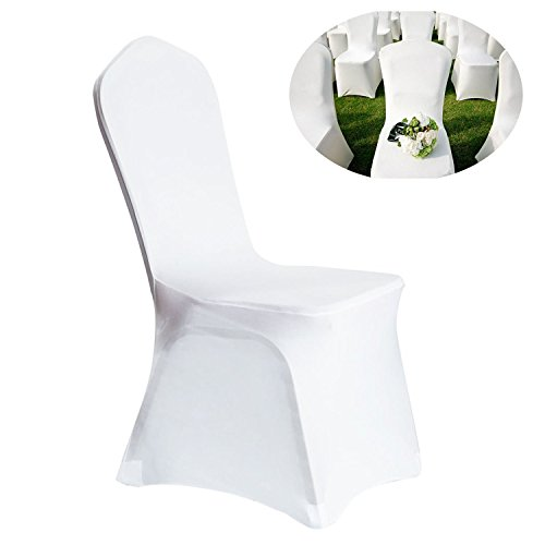 100pcs Universal Spandex Chair Covers for Wedding Supply Party Banquet Decoration White ()
