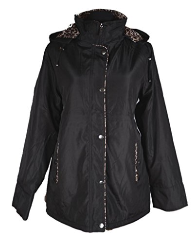Damen Kapuze Übergangsjacke warm gefüttert Übergang Parka Trench Mantel Jacke 42 44 46 48 50 M L XL XXL Creme