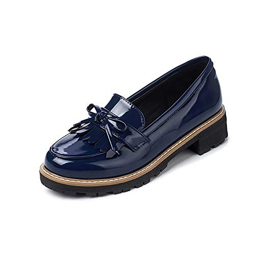 KARKEIN Women's Patent Leather Slip On Shoes Tassel Low Heel Penny Loafers Bowknot Oxford Shoes Navy