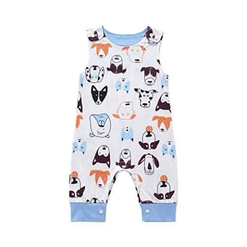 MOGOV Newborn Kids Baby Boys Summer Concise Cartoon Animal Print Casual Romper Jumpsuits Clothes Summer White