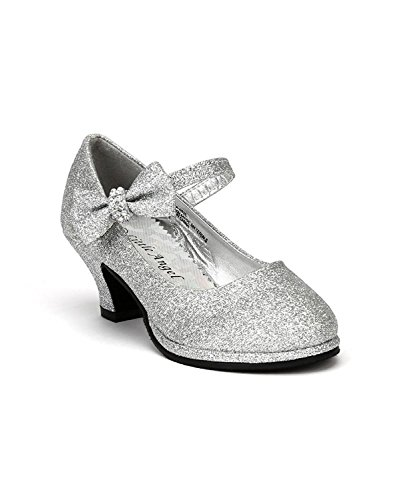 Little Angel Tasha-685E Glitter Bow Mary Jane Pump (Toddler/Little Girl /Big Girl) - Silver (Size: Little Kid 2) - Bow Heels Shoes
