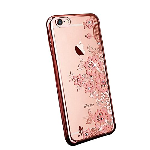 6 Plus Bling Case, Fyee [Lace Flower Series] Slim Dual Flexible TPU Rubber Back Cover with Pink Flower and Bling Glitter Stone Diamond LuxuryCase for iPhone 6 Plus/ 6s Plus 5.5 inch - Rose Gold Edge