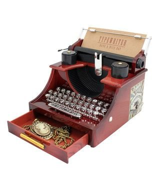 (Wind up Music Box Vintage Look Music Box with Jewelry Box - Table Desk Decoration and Gift (Typewriter, Brown))
