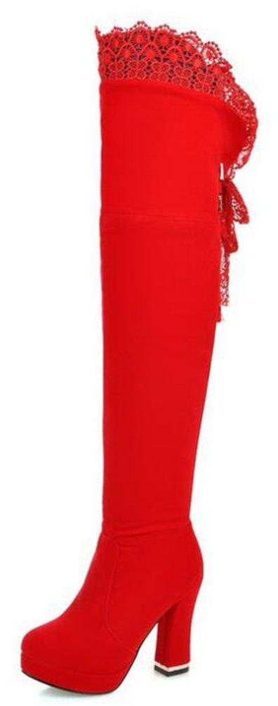 Easemax Damen Modisch Spitze Nubuk Langschaft Tall Boots High Heels Stiefel  32 EU|Rot