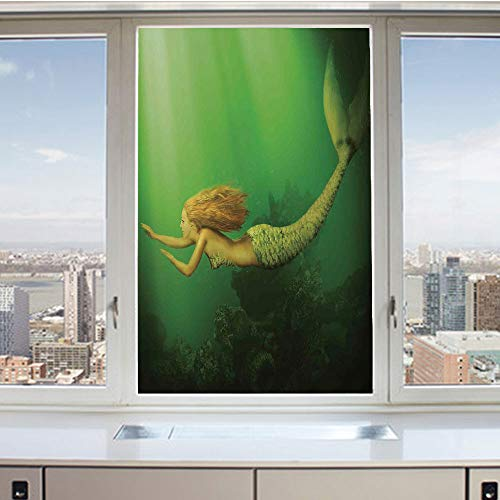 3D Decorative Privacy Window Films,Mermaid with Fish Tail Swimming in The Deep Sea Fantasy World Artwork,No-Glue Self Static Cling Glass Film for Home Bedroom Bathroom Kitchen Office 17.5x36 Inch