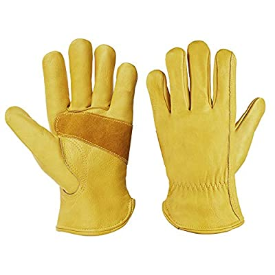 CCBETTER Leather Work Gloves with Tape Wrist Wear Resistant Cowhide Gardening Gloves For DIY, Yardwork,Cutting,Construction,Motorcycle
