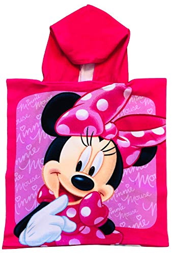 Minnie Mouse Pink on Pink Microfiber Hooded Poncho Towel]()