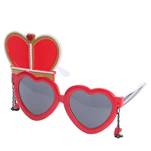BESTOYARD Party Sunglasses Red Hearts Queen Pattern Novelty Funny Eyeglasses for Casino Party Fancy Dress]()