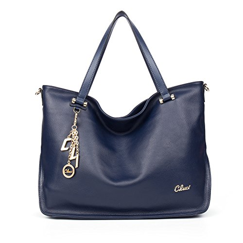 Cluci Womens Cow Leather Designer Handbags Satchel Purse Tote Cross-body Bags Navy Blue (Blue Leather Handbags)