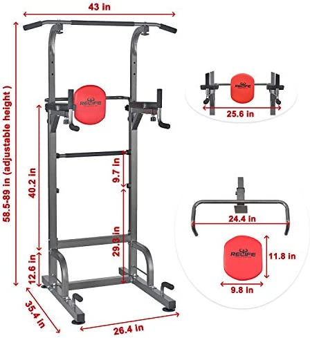 Amazon.com : RELIFE REBUILD YOUR LIFE Power Tower Workout Dip Station for Home Gym Strength Training Fitness Equipment Newer Version : Sports & Outdoors