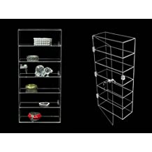 (JW-AD-F1022) ROXY DISPLAY Clear Acrylic Display Tower Case. Small items display case, and door lock. Assembled.