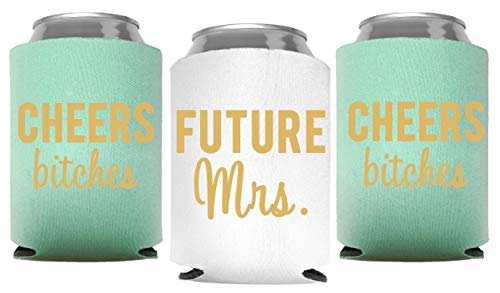 Cheers Bitches and Future Mrs. - Bachelorette Party Can Coolers with insulated Covers, Set of 12 White and Mint Green Beer Can Coolies, Perfect Bachelorette Party Decorations and Brides Maid Gifts (Beer Wedding Vegas Party)