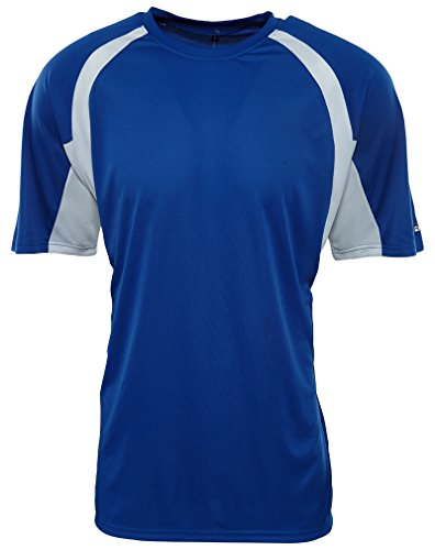 Badger Sport B-Dry Hook Short Sleeves Crewneck Sports Tee Mens Style: 4144-ROYAL Blue/White Size: L