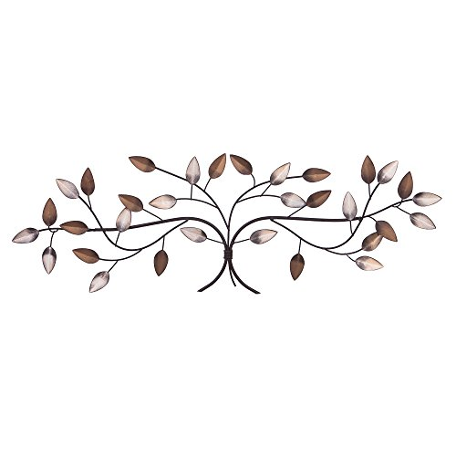Gold Branch Tree (Patton Wall Decor Bronze Tree Branch with Gold and Silver Leaves Metal Wall Décor)