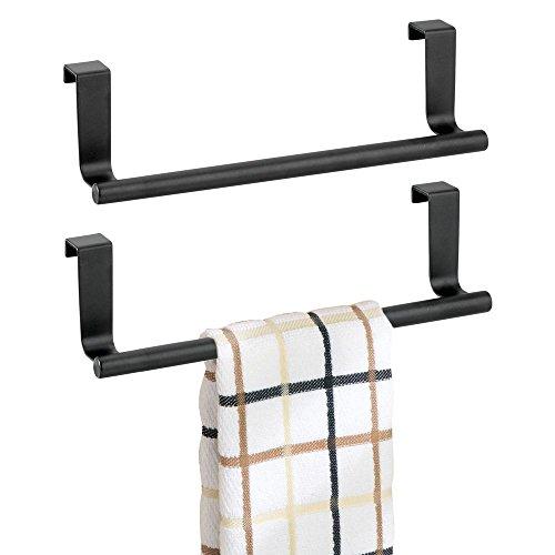 mDesign Decorative Metal Kitchen Over Cabinet Towel