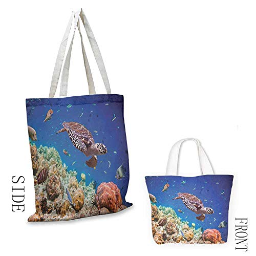 Canvas zipper tool bag Ocean Lonely Old Tropical Sea Turtle Swimming Shoal Sea Sponges Maldives Image Leisure travel bag 16.5