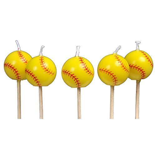 Softball Birthday Candles (5 pack, spherical balls on picks) Girl