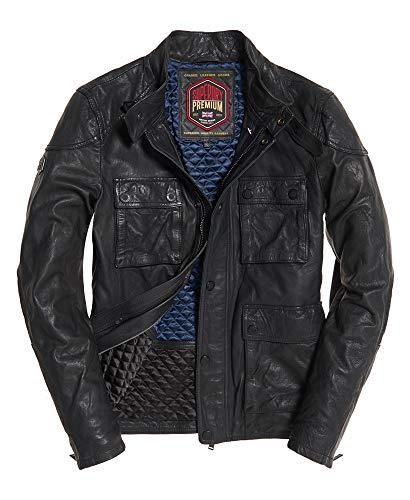 Superdry Rotor Leather 4 Pocket Jacket Black (Superdry Mens Leather Jacket)