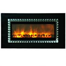Yosemite DF-LED1200-W Wall-Mount No-Heat Faux Fireplace with LED Lighting, Helios White