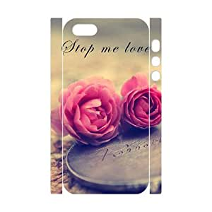 WUCG Top Quality Hard Back Case Cover for iPhone 5,5S, Personalized Beautiful flowers 3D Phone Case