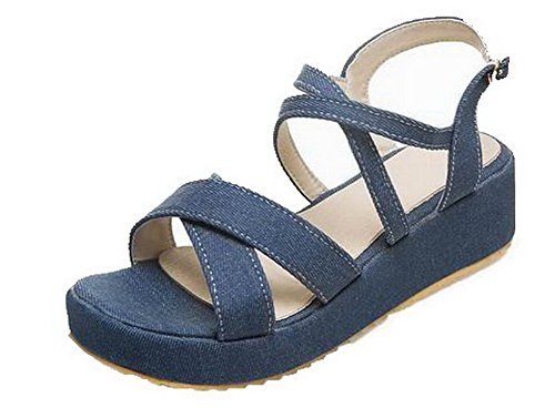 Sandals Women's Fabric Open Buckle Solid Heels WeenFashion Kitten Darkblue Toe Fwnxq118