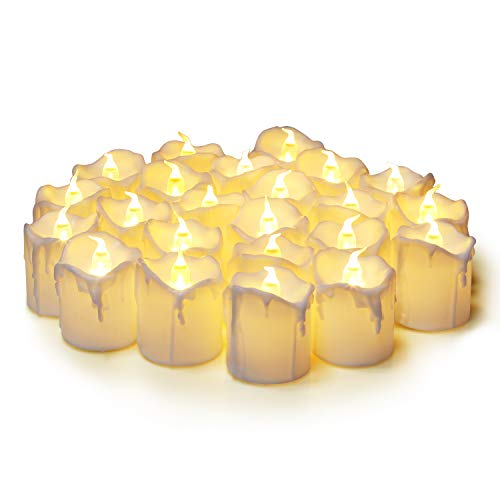 KEESON Flameless Votive Candles,Luminara Votive Flameless Candles,Battery-Operated LED Tea Light,Fake Electric Candles for Wedding Home Decor Birthday Party Warm White(24 Pack)