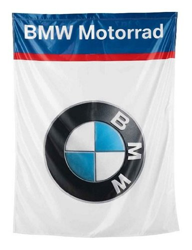 BMW Genuine Motorcycle Riding Bmw Logo flag Universal White (Bmw Motorcycle Accessories)