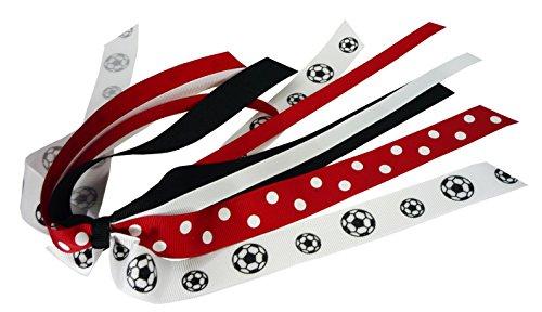 Red Polka Dot, Black and White Glitter Soccer Pony Streamer, Bow for Ponytail, Girls Soccer Team
