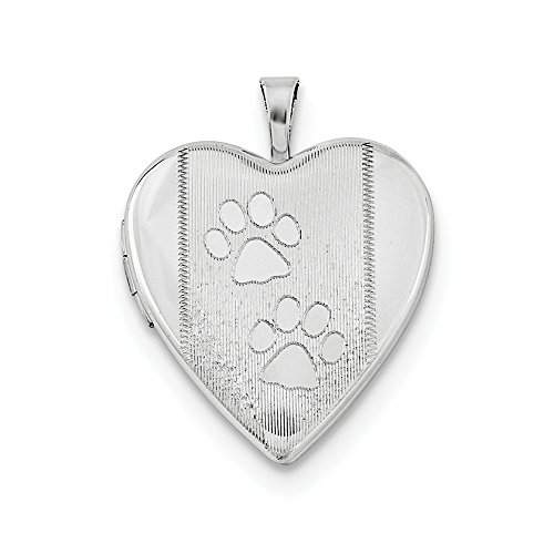 (925 Sterling Silver Textured Paw Prints Heart Photo Pendant Charm Locket Chain Necklace That Holds Pictures Fine Jewelry Gifts For Women For Her)