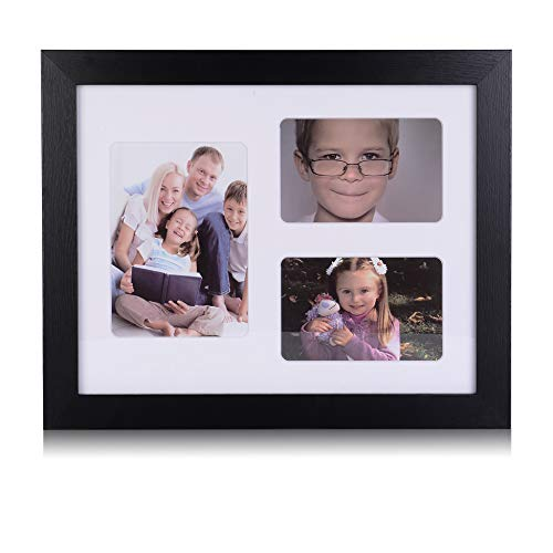 11x14 Collage Picture Frame - Display 4x6 Inch Photos and 5x7 Inch Photo with 3 Openings - Ready to Hang, Wall Collage Picture Frames