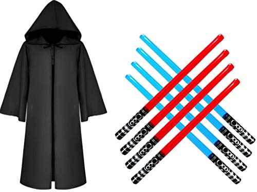 Majika Hooded Cloak for Star Wars Parties -Kids Black Size Small 45 inches with Inflatable Swords - Kids & Adults Halloween Costume, LARP, Dress Up, Cosplay - Jedi, Vader