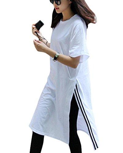 プレビュー蜂下位SANKU レディースtシャツ クルーネック Tシャツワンピース ロング丈 チュニック 無地 半袖 ゆったり 春 夏 韓国風 カットソー ティシャツ レディース 半袖 おしゃれ おもしろ かわいい 通勤 ベーシック
