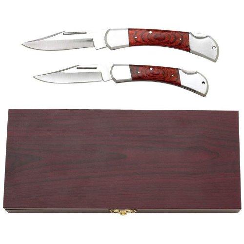 Maxam 2Pc Lockback Knife Set in Wood Box Kitchen Classics Fixed Blade Knife