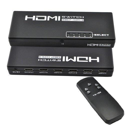 iKKEGOL 5 Port 1 x 5 HDMI Switch Switcher Selector Splitter Hub for HDTV PS3 w/IR Remote Simple Ir Hub