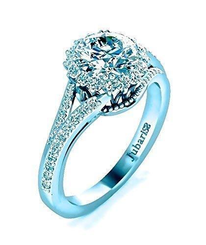 Halo Diamond Engagement Ring Custom 1.32Ctw Round Brilliant Cut Split Shank Jubariss 14K White Gold Designer Fine Jewelry ()