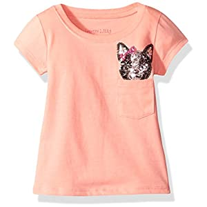 Colette Lilly Big Girls' Short Sleee Sequin Tee, Coral Flower, 10/12