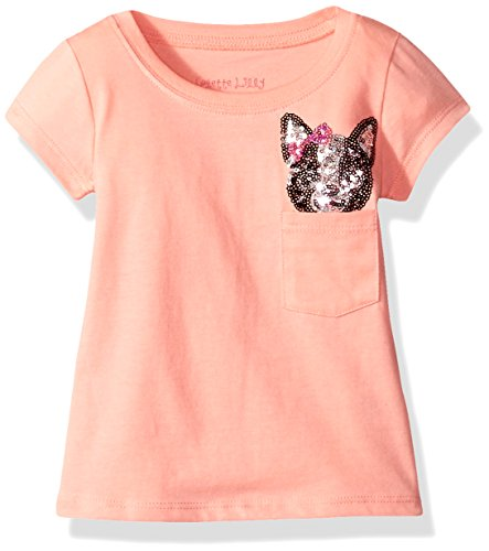 Colette Lilly Girls' Toddler Short Sleee Sequin Tee, Coral Flower, 2T