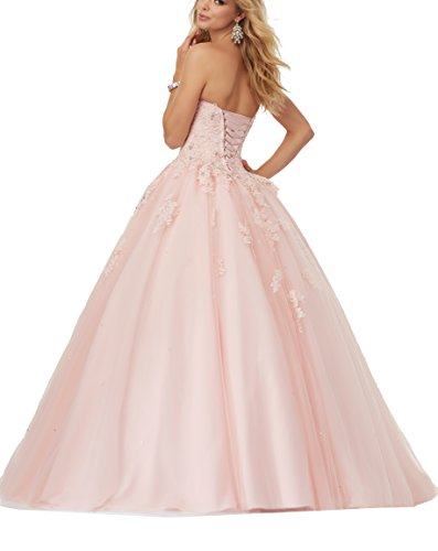 Length Dress Rose Gown Lace Ball Tulle Floor Applique Quinceanera Women's Eldecey IZPaRq