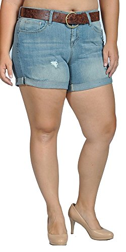 dollhouse Womens Stretch Pull-on Skinny Ripped Distressed Denim Belted Shorts (Stretch Belted Cotton)