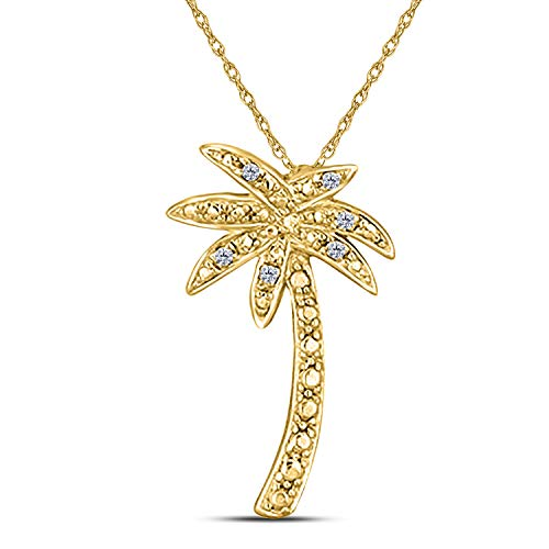 1/10 Ct Round Cut Cubic Zirconia Palm Tree Pendant Necklace in 14k Yellow Gold Plated Sterling Silver