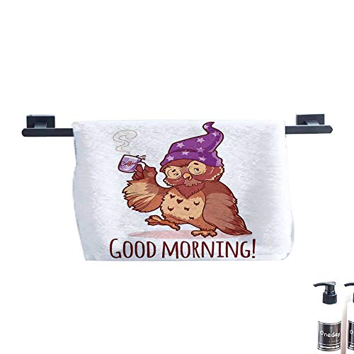 (warmfamily Funny Soft Superfine Fiber Bath Towel Woken Owl in The Nightcap with A Cup of Coffee Good Morning Typography Humor W14 x L14 Redwood Purple)