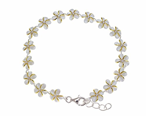 Arthur's Jewelry 925 Sterling Silver 2 Tone Yellow Gold Plated Hawaiian Plumeria Flower Bracelet cz 8mm - Bracelet Plumeria Hawaiian