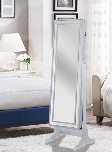 Iconic Home Glitzy Contemporary Pristine White Crystal-Border Cheval Mirror Jewelry Armoire (Mirror Border White)